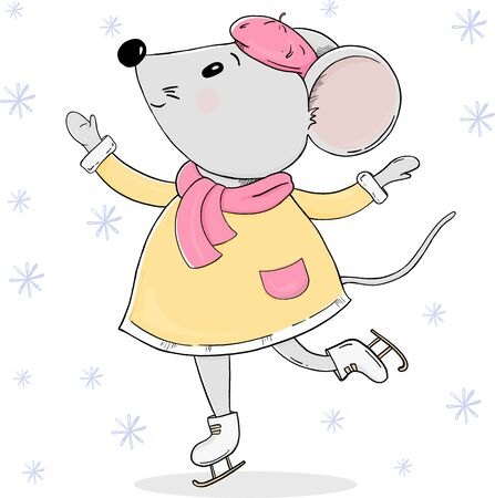 Cute mouse in warm clothes on skates. Colorful vector illustration on white background. Hand-drawn. Greeting card for New year and Christmas.
