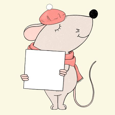 Cute mouse in a beret holds a frame for your text. Colorful vector illustration on white background. Hand-drawn. Greeting card. Template. Mock up.