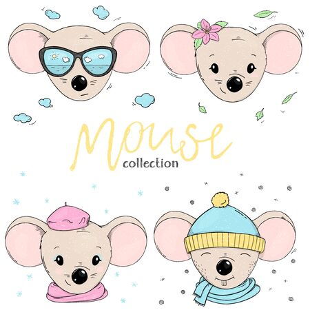 Set with cute mice. Mouse heads in warm clothes and summer accessories on white background. Colorful vector illustration in sketch style. Hand-drawn.