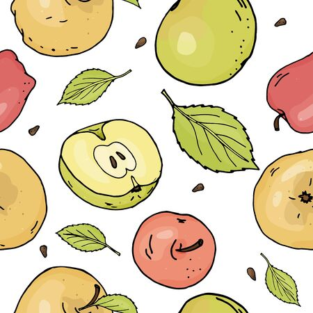 Seamless pattern with apples and leaves. Different apples on white background. Colorful vector illustration in sketch style.