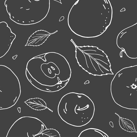 Seamless pattern with apples and leaves. White silhouettes on a dark background. Monochrome vector illustration in sketch style. Illustration