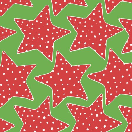 Seamless pattern with hand-drawn stars. Five-pointed red stars on a green background. Vector illustration in sketch style.