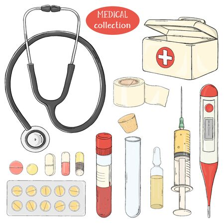 Set with medical equipment, medicines and first aid kit. Seth on the medical topic. Colorful vector illustration in sketch style. For advertising, flyers, brochures, website.