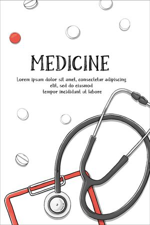 Poster on the medical theme. Stethoscope and tablet. Colorful vector illustration in sketch style. For advertising, leaflets, brochures, website.