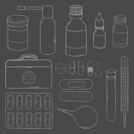 Set with medical equipment, medicines and first aid kit. Set on the medical theme. Vector illustration in sketch style. White outline on dark background. For advertising, leaflets, brochures, website. Standard-Bild - 134746590