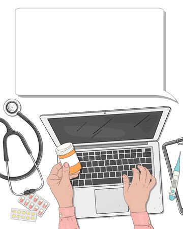 Vector illustration on medical theme. Hands doctor with a laptop and medicines. Space for your text. Template. Mock up. For applications, advertising, booklets. Stock Illustratie