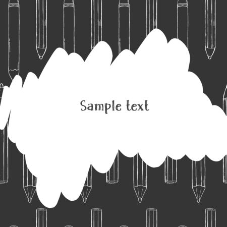 Creative frame with pencils on background. Black and white vector illustration. For website, advertising, applications, booklets. Scrawl. Hand-drawn. Template. Mock up.