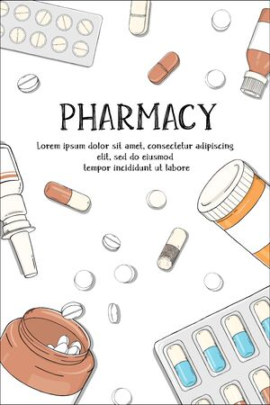 Poster on the theme of health. Drugs and pills on a white background. Colorful vector illustration in sketch style. For advertising, leaflets, booklets, website. Stock Illustratie