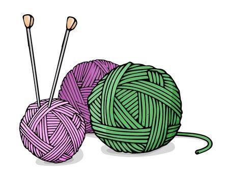 Balls of wool for knitting green and purple colors and knitting needles. Colorful vector illustration in sketch style.