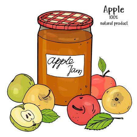 Jar of Apple jam and fresh ripe apples of different colors. Colorful vector illustration in sketch style on white background. Hand-drawn. Reklamní fotografie - 134898952
