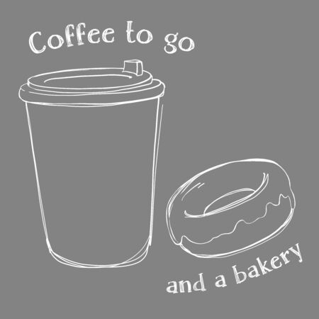 Disposable paper Cup with lid with hot coffee and fresh donut. Vector illustration in sketch style on dark background. White outline on the chalk Board. For advertising, flyers, website, menu. Stock Illustratie