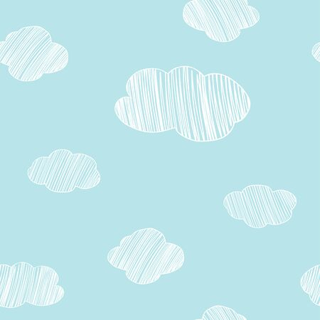 Seamless pattern with hand-drawn clouds on blue sky background. Vector illustration in sketch style. Doodle. Standard-Bild - 134898967