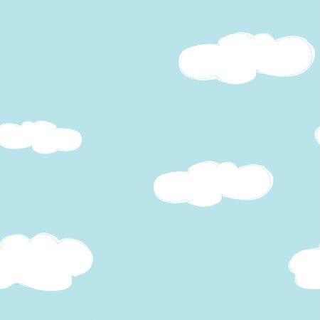 Seamless pattern with hand-drawn clouds on blue sky background. Vector illustration in sketch style. Doodle.