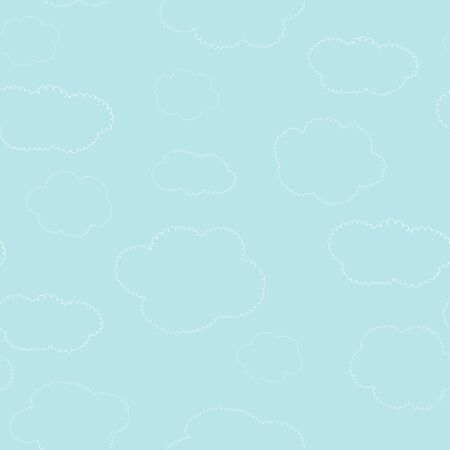 Seamless pattern with cute hand drawn curly clouds on a blue sky background. Vector illustration in sketch style. Doodle. Stock Illustratie