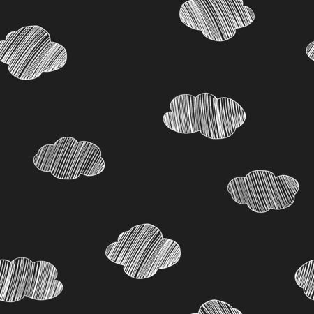 Seamless pattern with hand-drawn clouds. White outline on black background. Vector illustration in sketch style. Doodle.