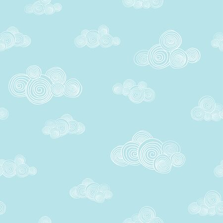 Seamless pattern with cute hand-drawn clouds on blue sky background. Vector illustration in sketch style. Doodle.