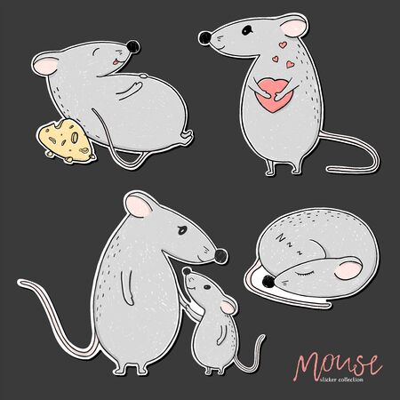 Set with mice. Funny mouse with heart, sleeping, with cheese and cute mummy with baby. Colorful vector illustration on white background. Hand-drawn.
