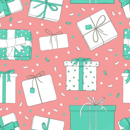 Seamless pattern with gift boxes. Vector illustration in sketch style. Boxes tied with ribbons on a pink background. Wrapping paper, packaging, Wallpaper, textiles. Stock Illustratie