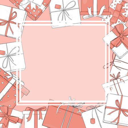 Frame with gift boxes of white and pink colors. Vector illustration in sketch style. Place for your text. Template. Mock up.