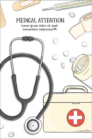 Poster on medical theme. Stethoscope and medication. Colorful vector illustration in sketch style. For advertising, leaflets, booklets, website. Zdjęcie Seryjne - 134801931