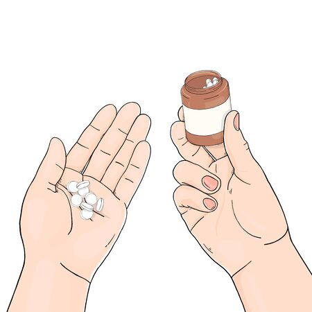 Vector illustration on medical theme. Hands with bottle and pills on white background. Space for your text. Template. Mock up. For applications, advertising, booklets.