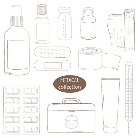 Set with medical equipment, medicines and first aid kit. Vector illustration in sketch style. Set on the medical theme. Dark outline on white background. For advertising, leaflets, booklets, website. Stock Illustratie