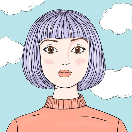 Portrait of a beautiful woman with purple hair and bangs on the background of the sky with clouds. Colorful vector illustration in sketch style. Hand-drawn.