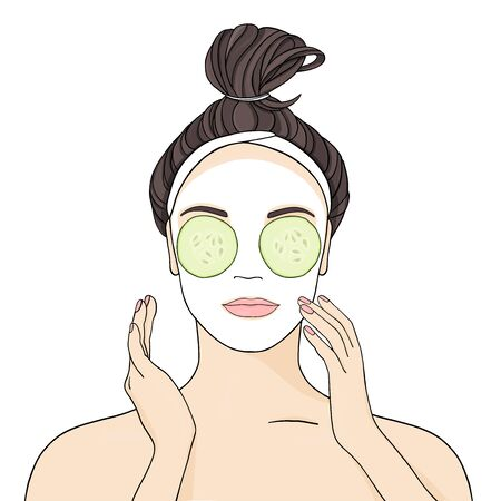 Beautiful girl applies face mask and cucumbers. Stylish vector illustration in sketch style on white background.