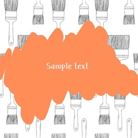 Creative frame with brushes and space for your text. Black silhouette on white background. Vector illustration in sketch style. For website, advertising, applications, booklets. Template. Mock up. Stock Illustratie