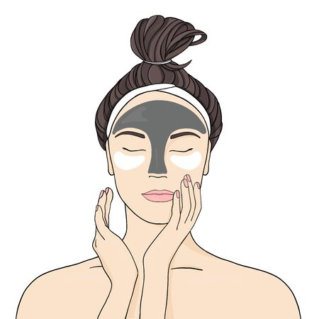 Beautiful girl puts on face mask and patches. Stylish vector illustration in sketch style on white background.