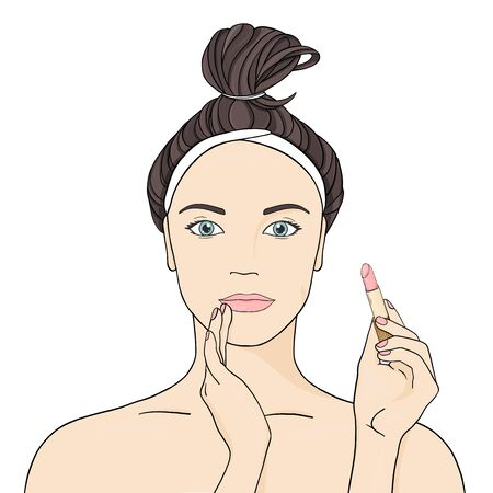 Woman paints her lips with lipstick on a white background. Colorful vector illustration in sketch style. Hand-drawn. Stock Illustratie