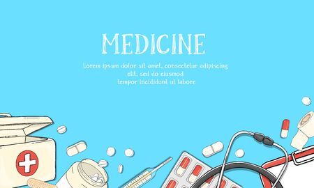 Frame on the theme of health. Medical equipment, drugs and pills on a blue background. Colorful vector illustration in sketch style. For advertising, leaflets, booklets, website. Template. Mock up. Stock Illustratie