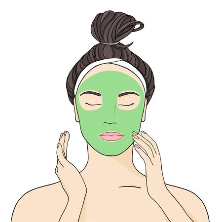 Beautiful girl puts a mask on her face. Cosmetic procedures for the beauty and health of the skin. Stylish vector illustration in sketch style on white background.