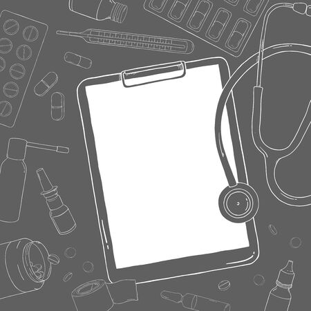 Poster on the theme of health. Stethoscope, medication and pills. Vector illustration in sketch style. White outline on dark background. For advertising, booklets, website. Template. Mock up.