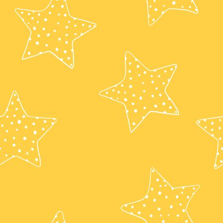 Seamless pattern with hand-drawn stars. Five-pointed white stars on a yellow background. Vector illustration in sketch style.