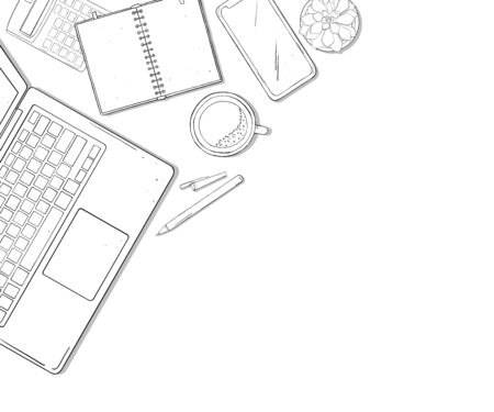 Work Desk with laptop, phone, notebook and a Cup of coffee. Vector illustration in sketch style. Black outline on white background. Space for your text. Template. Mock up. Stock Illustratie