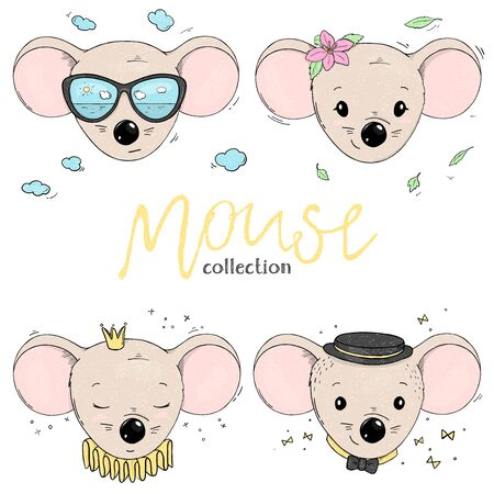 Set with the cute mouse heads. Mouse with a different of accessories on a white background. Colorful vector illustration in sketch style. Hand-drawn. Stock Illustratie