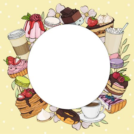 Round frame with desserts and coffee for your text on yellow background. Colorful, bright, stylish sweets and desserts with a Cup of coffee and cocoa. Vector illustration in sketch style. Mock up. Template. For cafe, flyers, website, app, poster. Stock Illustratie