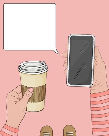 Hands with a Cup of coffee in a disposable paper Cup and a smartphone. Space for your text. Vector illustration in sketch style. Temple. Mock up.