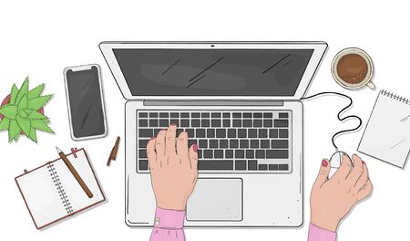 Woman working on a laptop. Hands on computer keyboard and mouse on white background. Top view of the desktop. Colorful vector illustration in sketch style. Stock Illustratie