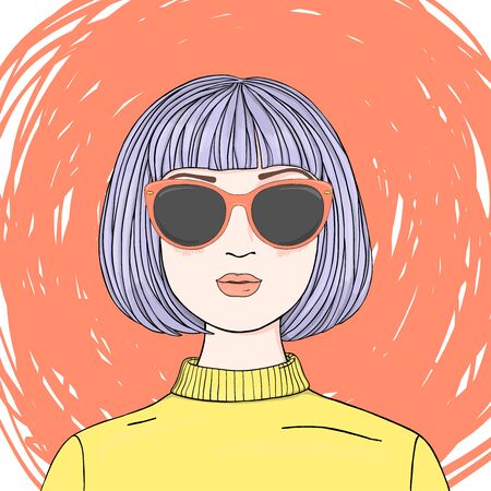 Portrait of a beautiful woman with short purple hair in sunglasses. Colorful vector illustration in sketch style. Hand-drawn.