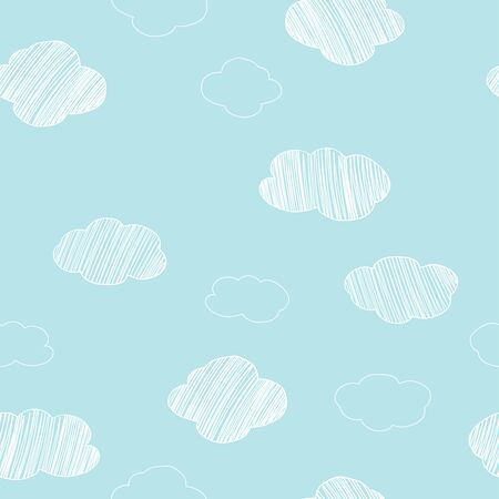 Seamless pattern with hand-drawn different clouds on a blue sky background. Vector illustration in sketch style. Doodle.