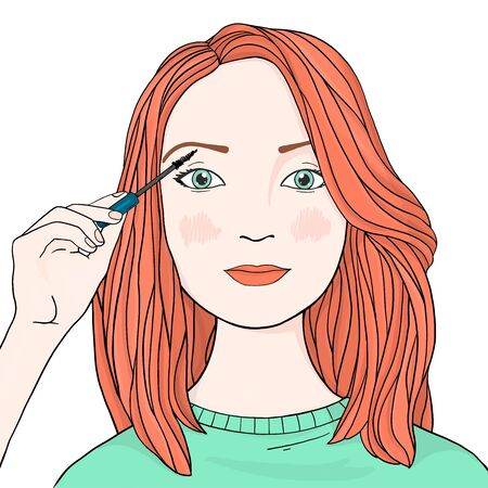 Beautiful woman with long orange hair will brighten up her eyelashes. Colorful vector illustration in sketch style. Hand-drawn. Çizim