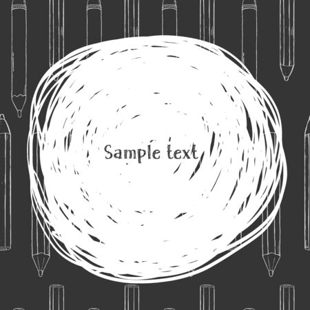 Creative frame with pencils and space for your text. White outline on black background. Vector illustration in sketch style. For website, advertising, applications, booklets. Template. Mock up. Stock Illustratie