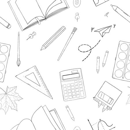 Seamless pattern with school stationery. Monochrome vector illustration. Black silhouette on white background. Hand-drawn.