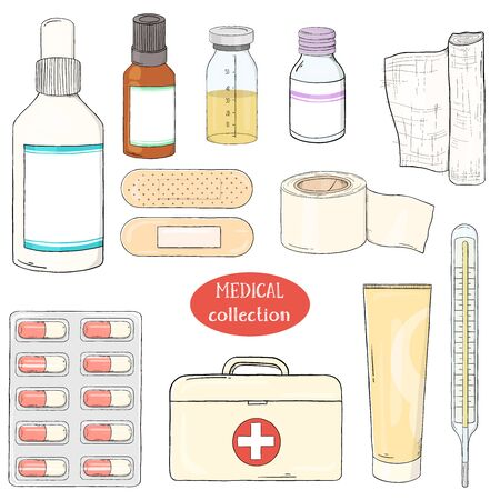 Set with medical equipment, medicines and first aid kit. Medical kit. Colorful vector illustration in sketch style on white background.