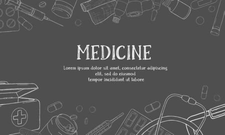 Poster on the theme of health. Medical equipment, drugs and pills. Vector illustration in sketch style. White outline on dark background. Space for your text. Template. Mock up. Stock Illustratie