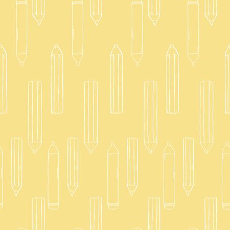 Pattern with pencils. White outline on yellow background. Vector illustration in sketch style. Hand-drawn.
