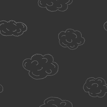 Seamless pattern with hand-drawn cute clouds. White outline on black background. Vector illustration in sketch style. Doodle. Stock Illustratie