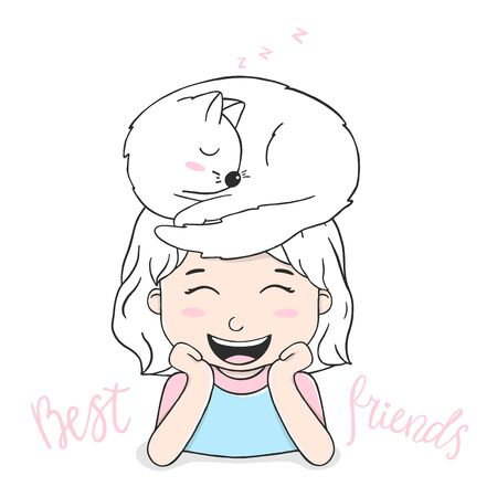 Portrait of a cute girl with a cat on her head. The girl laughs. Colorful vector illustration on white background in sketch style.